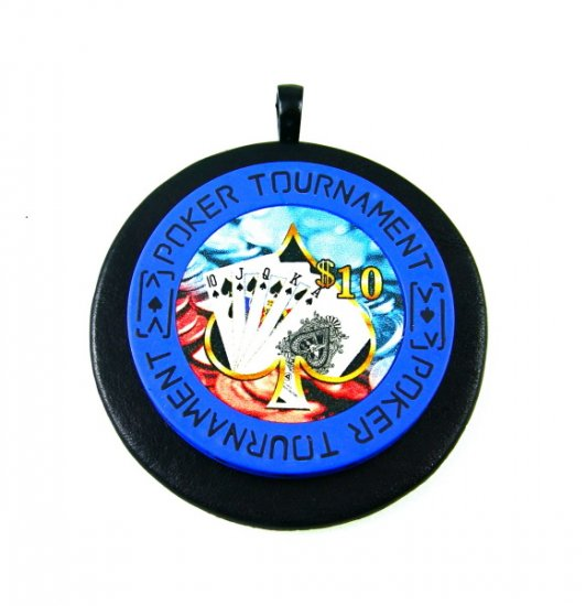 Mens Poker Chip Necklace Blue Unique Gambling Jewelry Black Leather Pendant Lucky Las Vegas