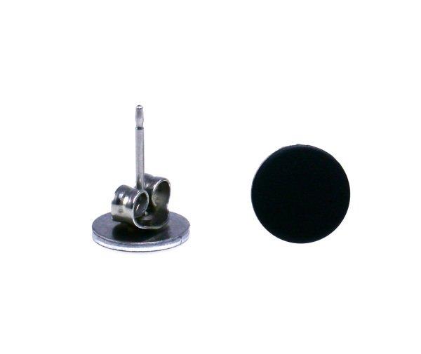 8mm Matte Black Earrings For Men Guys Cool Rocker Studs Aluminum Flat Disc