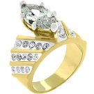 NEW18k yellow Gold Rhodium Marquis women 6ct-4g ring size 5,6,7,8,9,10 lead free