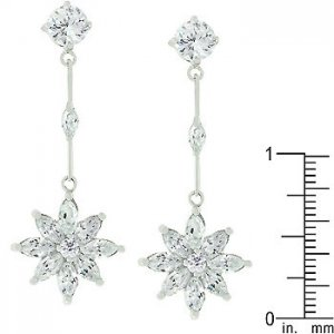 White Gold Rhodium Bonded Once Upon A Star women Earrings3.3ct platinum luster!!
