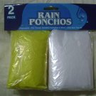NEW RAIN PONCHOS 2-PACK! CLEAR&YELLOW-GEAR-JACKET-COAT!