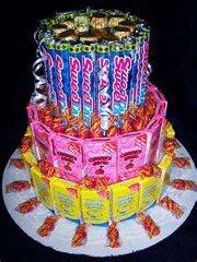 Sweet Tarts Mixed Candy Bar Cake