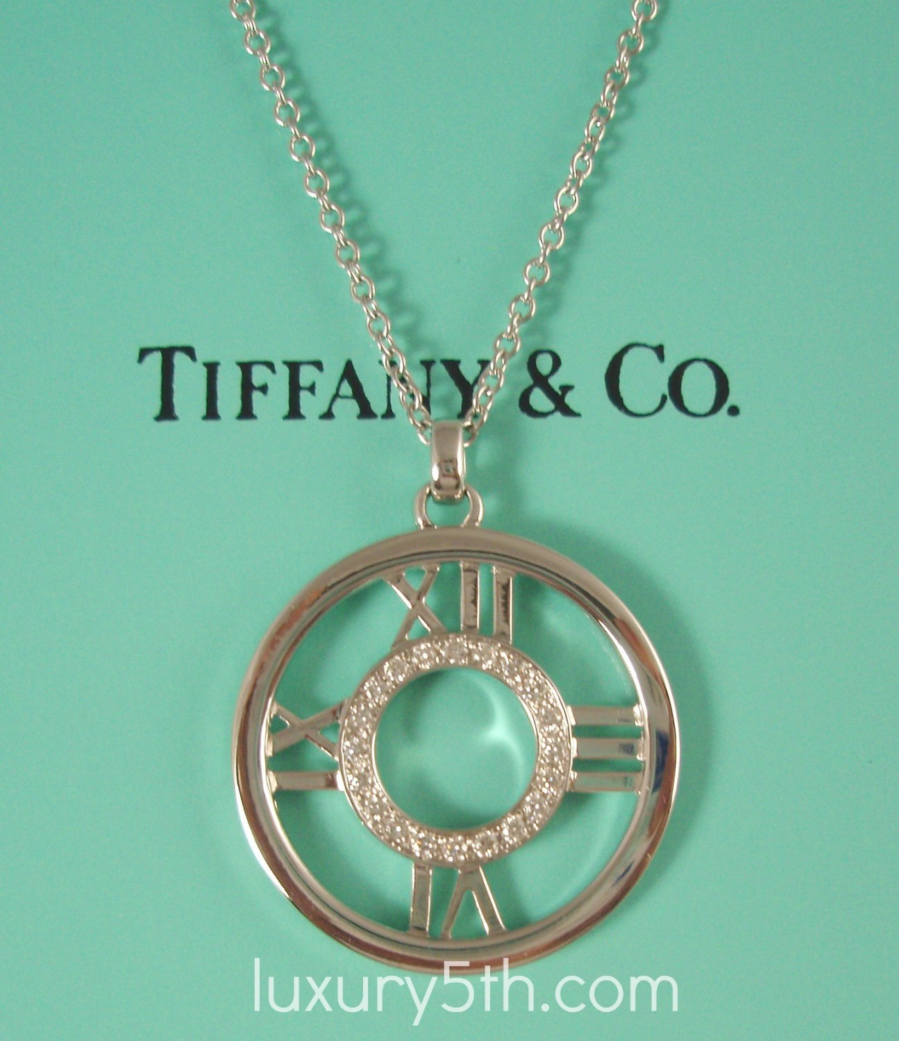 Tiffany Amp Co 18k White Gold Atlas Diamond Circle Pendant