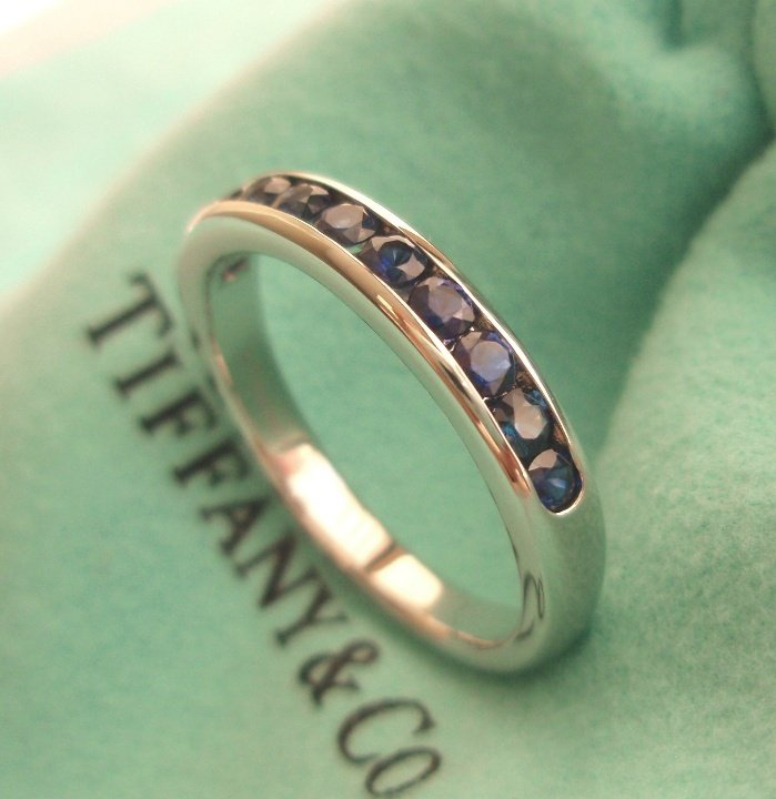 TIFFANY & CO. Platinum 3mm Half Circle Channel-set Sapphire Band Ring -- SOLD