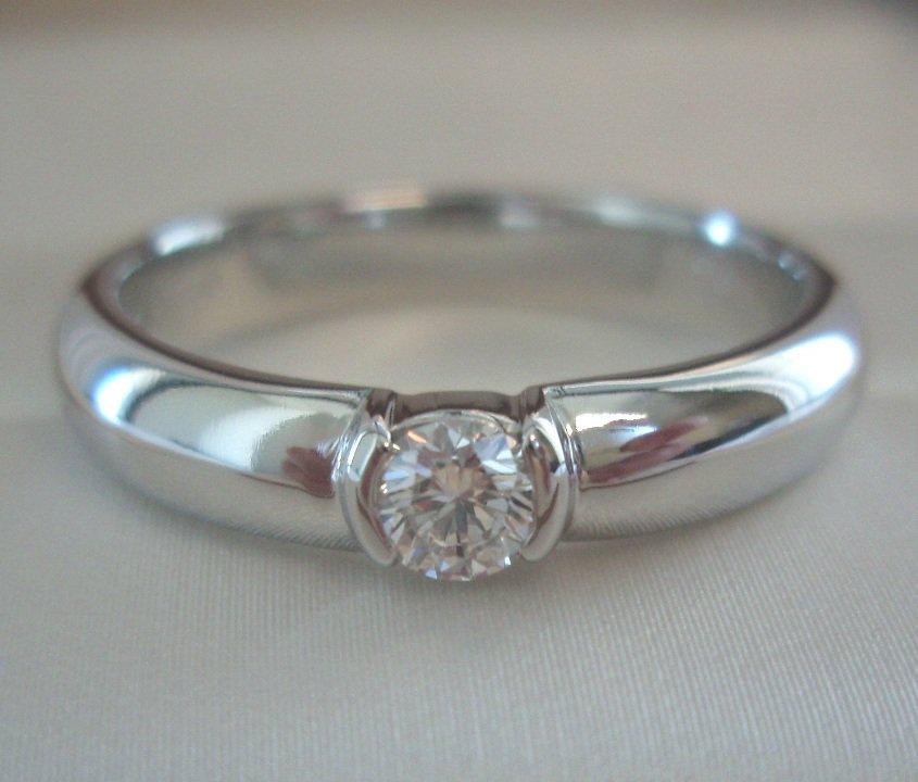 TIFFANY & Co. Platinum Etoile Solitaire .19ct Diamond Engagement Ring 7.5