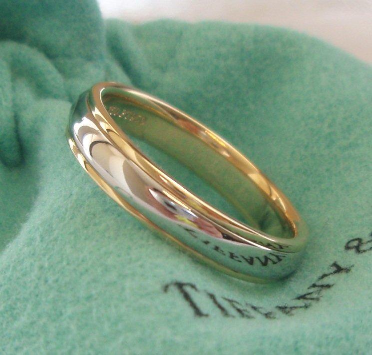 TIFFANY Co Platinum 18K Gold 4mm Lucida Wedding Band Ring 7