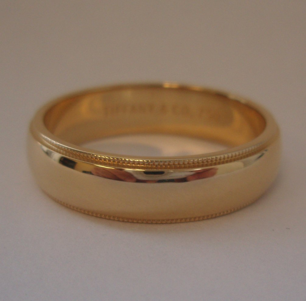 Tiffany co 18k gold 6mm milgrain wedding band ring 12 for Tiffany mens wedding ring