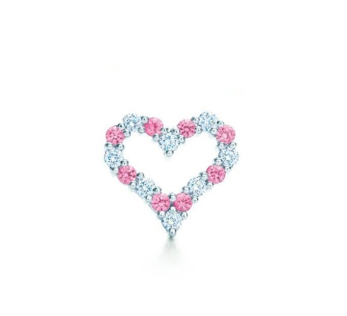 TIFFANY & Co. Platinum Diamond Pink Sapphire Heart Pendant
