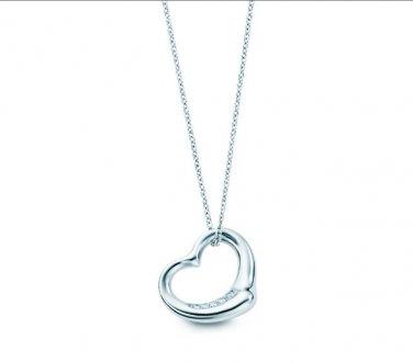 9673aa295a52b TIFFANY & Co. Platinum Elsa Peretti Diamond Open Heart Pendant Necklace