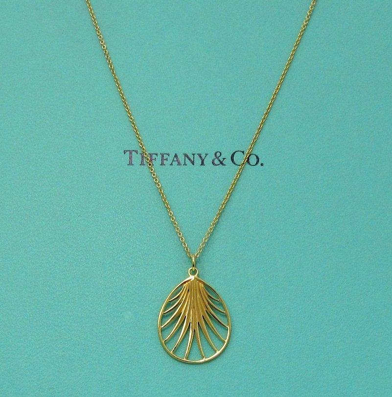 TIFFANY & Co. 18K Yellow Gold Paloma Picasso Villa Palm Pendant Necklace