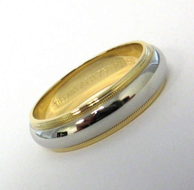 TIFFANY & Co. Classic Platinum 18K Gold 6mm Milgrain Wedding Band Ring 10