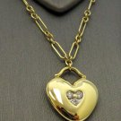 TIFFANY & Co. 18K Yellow Gold 3 Diamond Heart Pendant Link Chain Necklace
