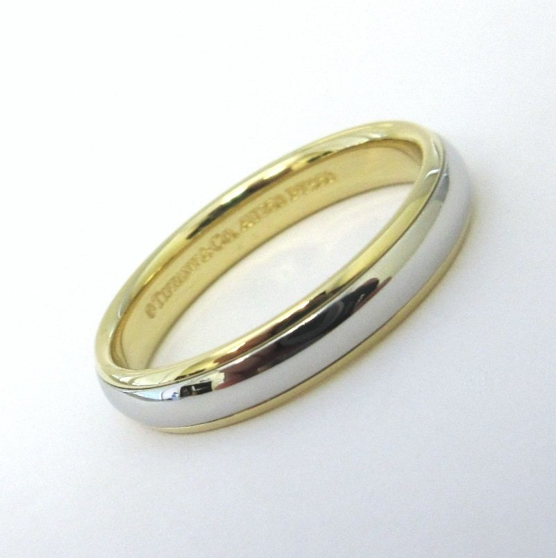 TIFFANY & Co. Classic Platinum 18K Yellow Gold 4mm Lucida Wedding Band Ring 8.5