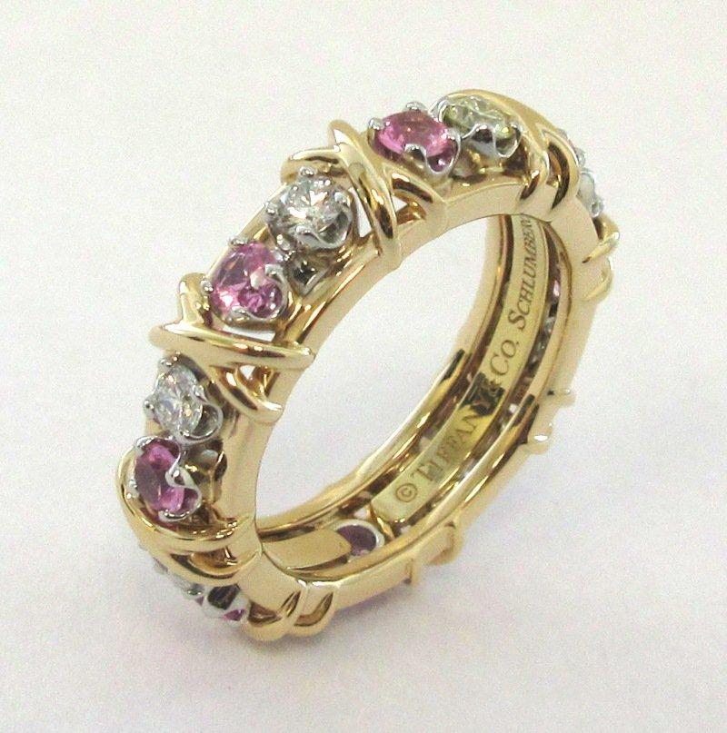 TIFFANY & Co. 18K Gold Schlumberger Sixteen Stone Diamond Pink Sapphire Ring 7