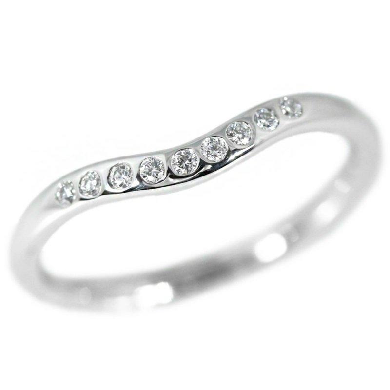 TIFFANY & Co. Platinum Elsa Peretti Diamond 2mm Curved Wedding Band Ring 5