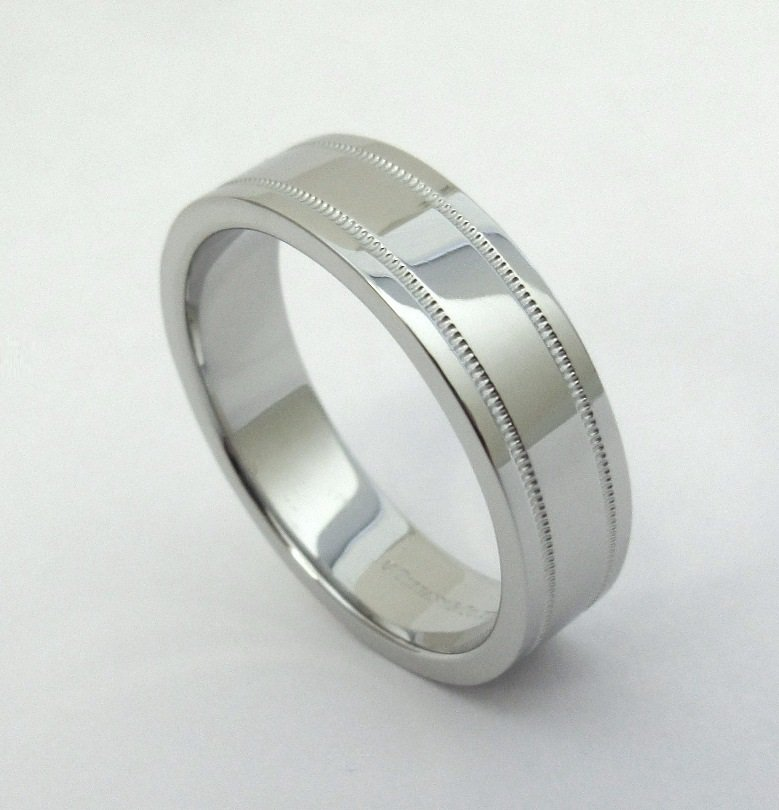 TIFFANY & Co. Essential Platinum 6mm Double Milgrain Wedding Band Ring 10.5 Men's