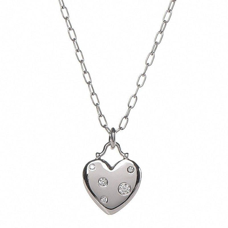 TIFFANY & Co. 18K White Gold Etoile Five Diamond Heart Pendant Necklace
