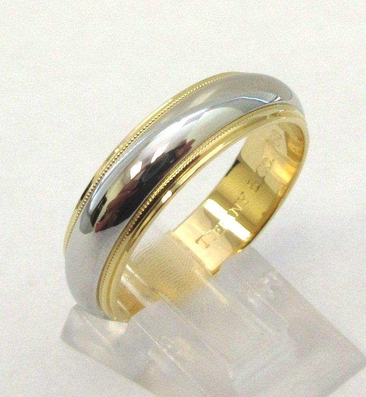 TIFFANY & Co. Classic Platinum 18K Gold 6mm Milgrain Wedding Band Ring 11.5