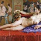 Handmade nude girl canvas art oil painting 06