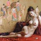 Handmade nude girl canvas art oil painting 07