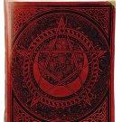 Celtic Spiral Pentagram Leather Blank Book Ox Blood Red