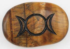 Triple Moon Tiger's Eye Gratitude Stone