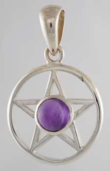 Silver and Amethyst Pentagram Pendant