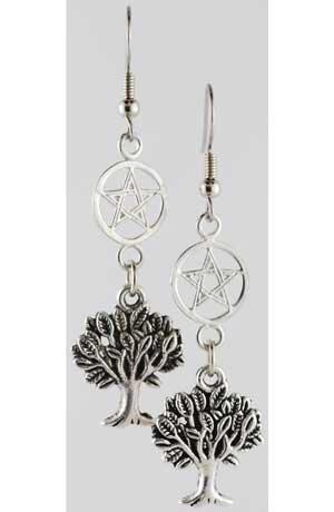 World Tree Pentagram earrings