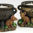 Mouse and Pentagram Cauldron Tealight Holders