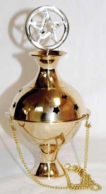 Pentagram Crowned Hanging Brass Censer