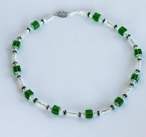Emerald Green and Silver Necklace