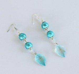 Blue Crystal Feather Earrings
