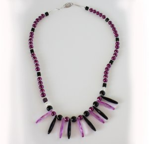 Purple & Black Tribal Style Necklace
