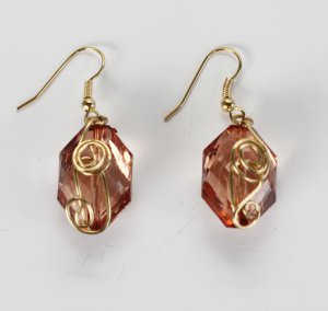 Gold Wire Wrapped Dangle Earrings
