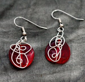 Silver Wrapped Red Drop Earrings