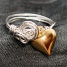 Silver Wrap and Gold Heart Ring