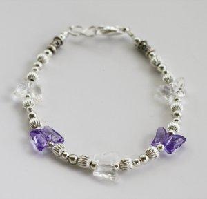 Purple & Crystal Butterfly Bracelet