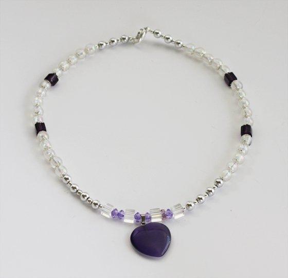 Amethyst Heart & Crystal AB Bead Necklace