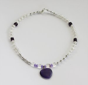 Amethyst Heart & Crystal AB Bead Necklace