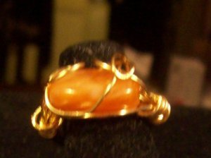 Orange Agate Freeform Wrapped Ring