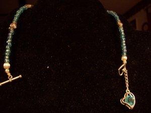 Blue Beaded Silver Heart Ankle Bracelet