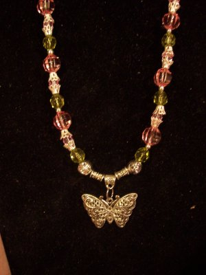 Pink & Green Butterfly Necklace