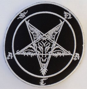Baphomet, pentagrama embroidered patch
