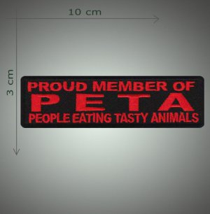 PETA embroidered patch