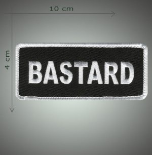 Bastard embroidered patch