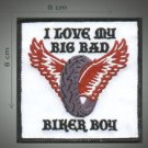 I love my biker boy embroidered patch