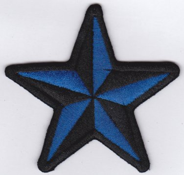 Star blue black - embroidered patch, 3,2 X 3,2 (INCHES)