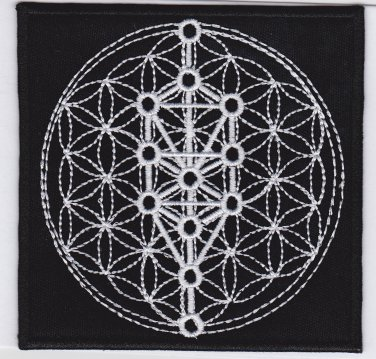 Sacred geometry, tree of life - embroidered patch, 4 X 4 (INCHES)