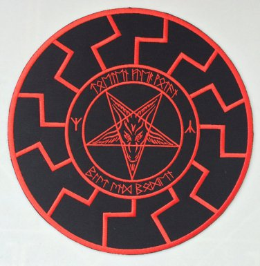 Black sun, baphomet, pentagram - embroidered back patch, 11,2 X 11,2 (INCHES)