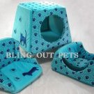 3 In 1 Baby Blue Velour Sofa Bed House